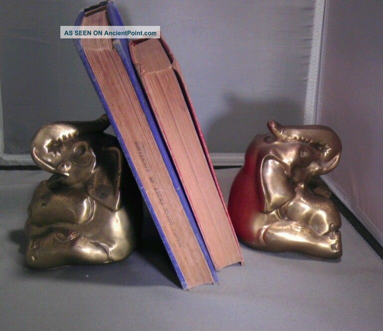 Pair Of Pm Craftsman Brass Elephant Bookends