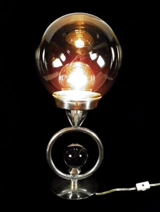Art Deco/bauhaus Era 1920s - 30s French Chrome And Glass Table Lamp - Excellent photo