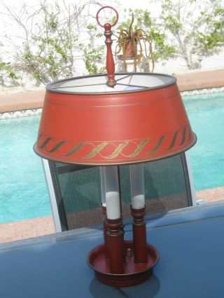 French Bouillette Tole Style Lamp photo