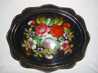 Vtg Tole Painted Signed And Stamped Serving Tray photo