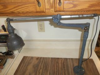 Antique Industrial O.  C.  White Adjustable Swing Arm Machine Age Light, photo