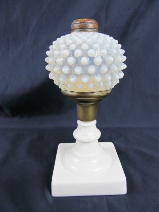 C1890 Hobbs Dew Drop Hobnail Oil Lamp White Opalescent W/opal Base photo