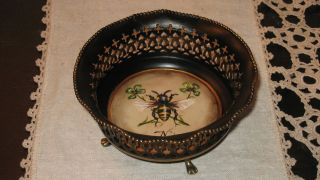 Hand Painted Vintage Toleware Tole Nut Candy Bonbon Dish Bowl French Country Bee photo
