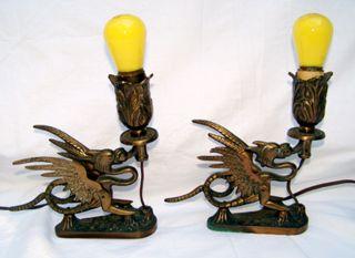 Two Art Bronze Co.  Antique Griffin / Dragon Lamps photo