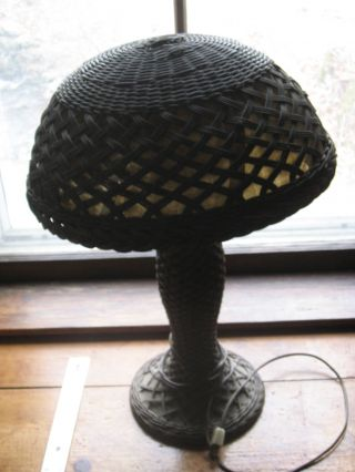 Gorgeous Wicker Lamp W Mica And Possible Light Bulb Still Works photo