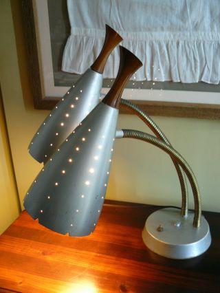 Wowzer Vintage Atomic Double Gooseneck Lamp,  Teak Finials? So Cool When Lit photo