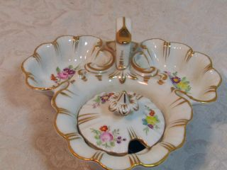 European Porcelain 3 Section Mustard And Condiment Bowl With Handle And Gold photo