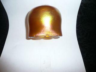 Antique Art Glass Steuben Or Quezal Gold Aurene Iridescent Lamp Shade photo