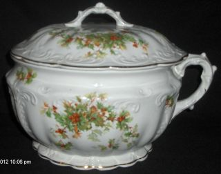 Antique E P P Co Marquette Holly Berry Raised Porcelain Chamber Pot With Lid photo
