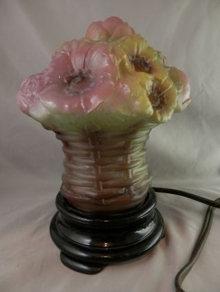 Vintage Consolidated Puffy Rose Floral Lamp Fine Condition 8 Inch photo