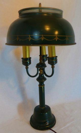 Vintage Tin Toleware Lamp Painted 3 Way Lamp Light Antique Bouillotte Primitive photo