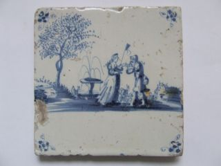 A Lovely Delft Pastorale Tile With A Love - Couple +++++++++++ photo