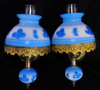 Pair Gone With The Wind Sconce Blue Floral Glass Lamp Wall Vtg Antique Hurricane photo