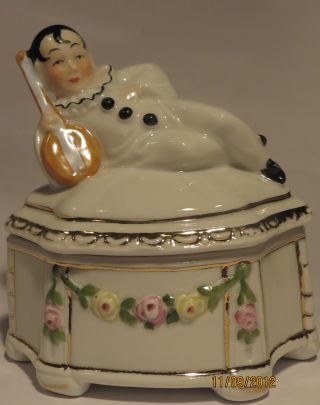 Antique German Figural Pierrot Trinket/powder Box/pot/jar Germany Half Doll Rel. photo