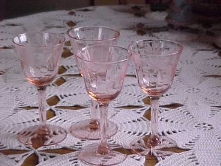 Cordial Or Wine Glasses 4 Pink Glass (please Note 4 Only) photo
