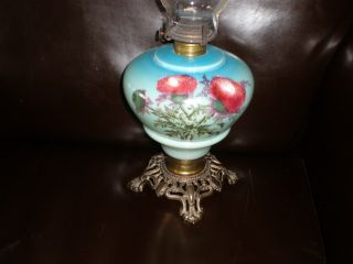 Antique Oil Lamp With Thistle Hand Painted Decoration With Chimney photo