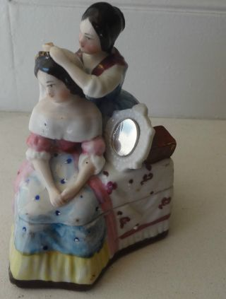 Staffordshire Fabulous Fairing Trinket Box With Women,  Dressing Table - photo