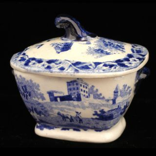 Rare Hackwood Pearlware Historical Staffordshire Toy 2pc Tureen Monastery 1830 photo