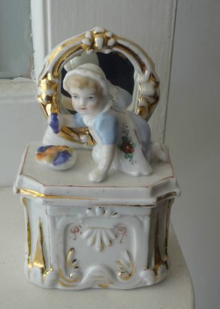 Staffordshire Fabulous Fairing Trinket Box With Porcelain Child And Mirror photo