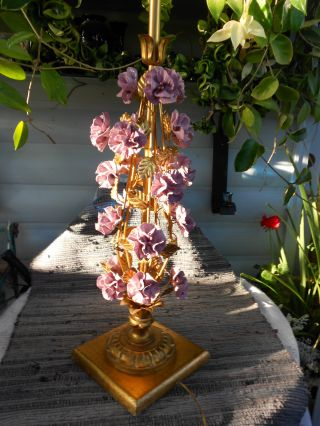 Antique Vtg Italian Capodiminte Rose Table Lamp Gilt Hollywood Regency photo