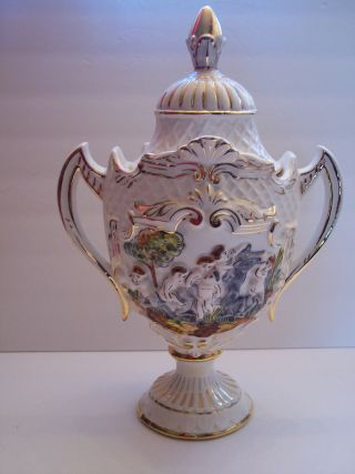 Rare Cherubs Angels & Cow In Relief Capodimonte Covered Urn Gold Detail Italy photo