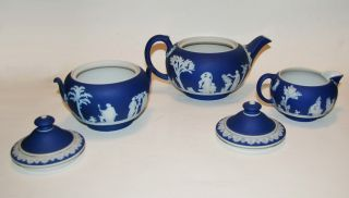 Early 5 - Piece Wedgwood Jasperware Porcelain Creamer Sugar Teapot Tea Set photo