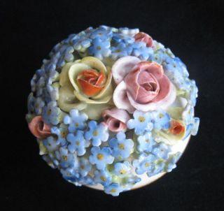Antique Von Schierholz Flower Encrusted Dresser Box Forget - Me - Nots & Roses photo