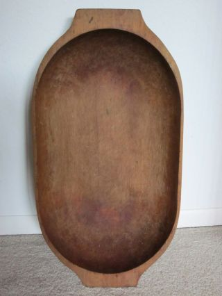 Oval Wooden Trencher/bowl 19.  Th.  C.  American Hand Hewn. . .  Tab Handles photo