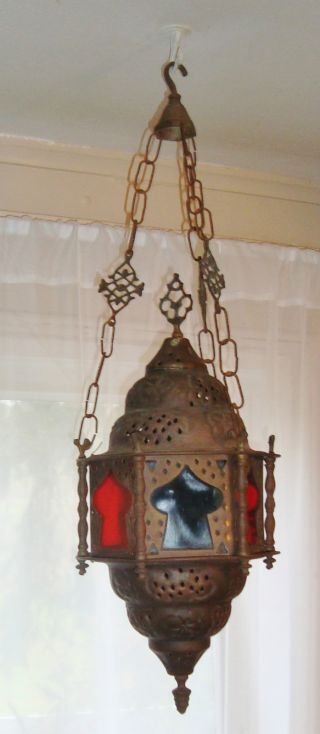 Antique Hanging Brass Lantern Lamp; Mosque,  Arabic Muslim Islamic Middle Eastern photo