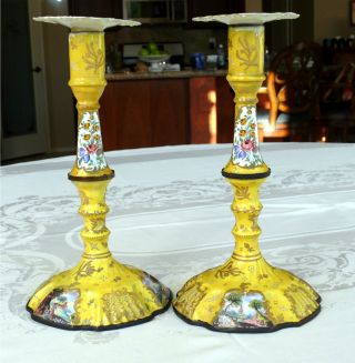 Antique Battersea Enamel On Metal Candlestick Pair Hp Landscape Cartouches photo