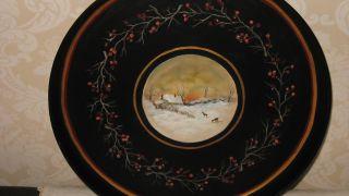 Hand Painted Vintage Toleware Tole Tray Deer Winter Snow Scene Berries photo