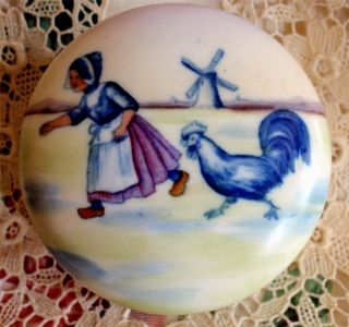 Hinged Porcelain Hand Painted Jar,  Box Dutch Girl,  Rooster,  Chicken & Windmill photo