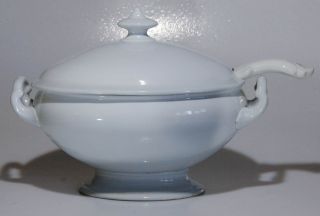 Antique White Stoneware Wedgwood Covered Tureen & Ladle Ironstone photo