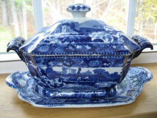 Rare Clews Blue Historical Staffordshire Tureen And Under Plate photo