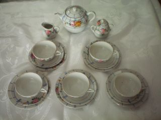 21pc.  Antique Vintage Child ' S Miniature Porcelain Tea Set - Hp Floral Tea Pot Rose photo