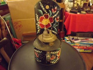Vintage Pressed Steel Toleware Oil Lamp Hand Painted Flowers Great Unusual Piece photo