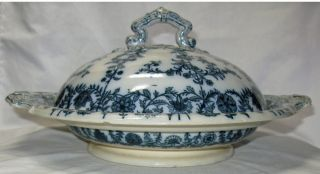 Antique,  1850 - 67 Copeland (spode) Gray Delhi Pattern Serving Bowl,  Lidded,  Large photo