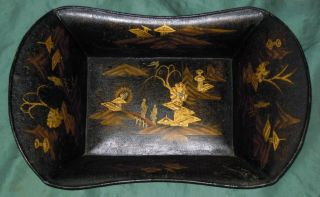 Small Metal Or Tole Tray With Chinoiserie photo