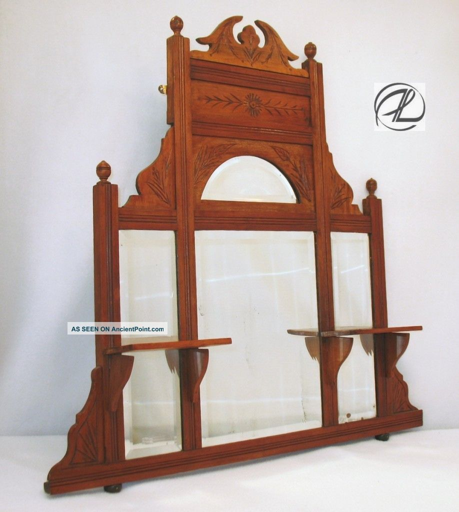 Antique Mirror Wall Shelf Large Beveled Victorian Wood Hand Carved