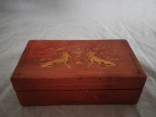 Antique Wooden Box Asian Motif Little Box photo