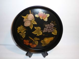 Vintage Black Metal Tin Tray Folk Art Fall Fruit Leaves Hand Painted Toleware photo