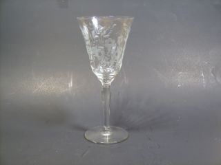 Antique Crystal Stemware Wine Goblet Wheel Cut Etching photo