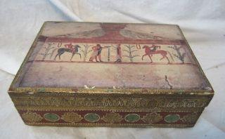 Florentine Tole Toleware Trinket Box Estruscan Print On Lid 5 7/8