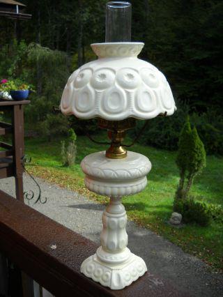 Vintage Milk Glass Hurricane Table Lamp Wow Photo