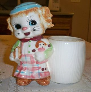 Vintage Girl Dog Or Cat Planter With Pink Plaid Skirt Japan photo