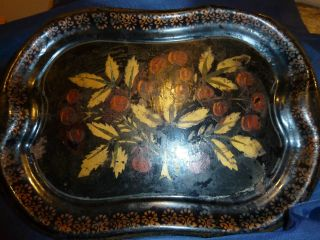Medium Sized Toleware Tin Tray - Cherry Stencil photo