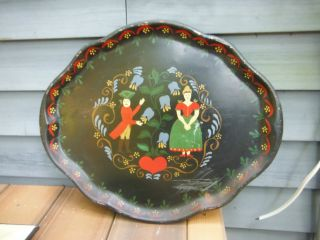 Vintage Metal Toleware Tray Pennsylvania Dutch Tole Painted Love Heart Oval Tray photo