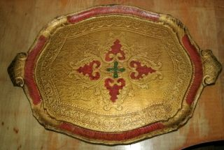 Large Florentine Tole Tray With Handles photo