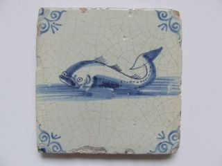 A Third Dutch Delft Tile With A Baby - Whale ++++++++++++++++ photo