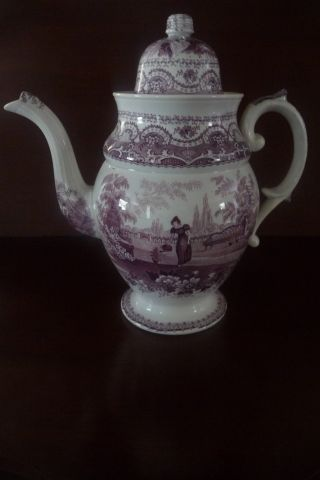 Antique Early 19thc Staffordshire Mulberry Transferware Pearlware Coffee Pot photo